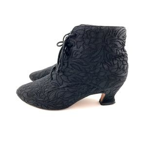 80S Black floral brocade and leather boots by TAXI